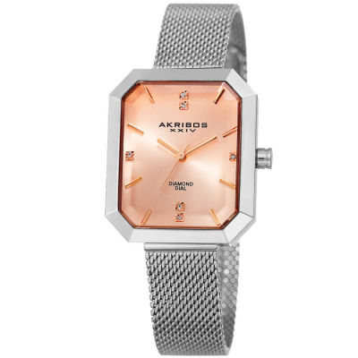 Akribos XXIV - Akribos XXIV Women's Genuine Diamond Sunburst effect Dial Stainless Steel Mesh Bracelet Watch AK909SSPK