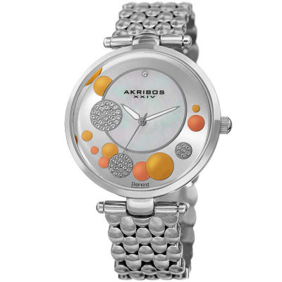Akribos XXIV - Akribos XXIV Women's Genuine Diamond Swarovski Mother of Pearl Stainless Steel Bracelet Watch AK963SS