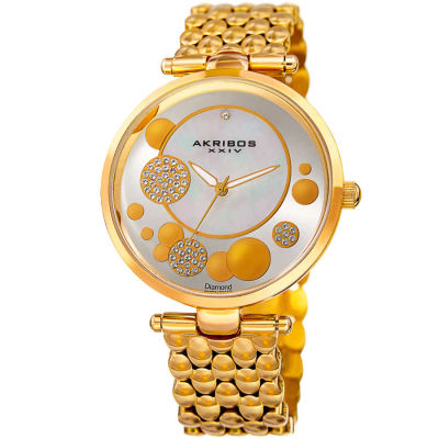 Akribos XXIV - Akribos XXIV Women's Genuine Diamond Swarovski Mother of Pearl Stainless Steel Bracelet Watch AK963YG