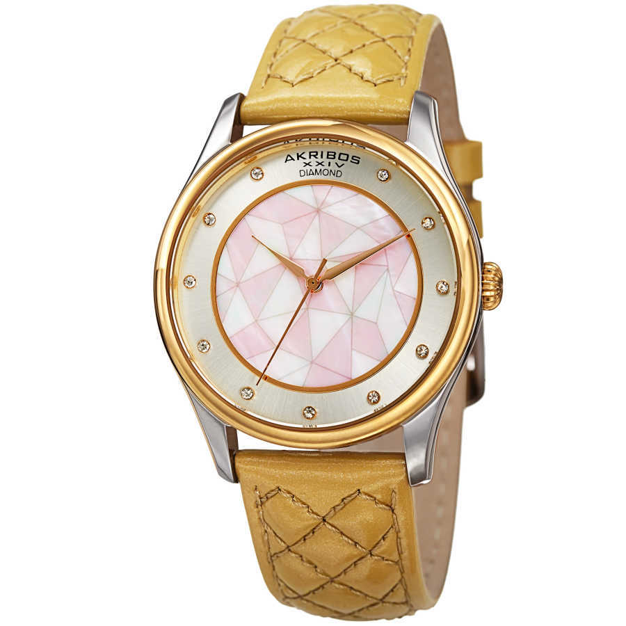 Akribos XXIV Women's Geometric Pattern Dial with Genuine Diamonds Leather Strap Watch AK925GLD