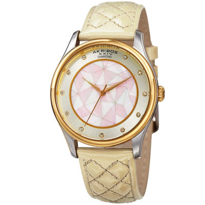 Akribos XXIV - Akribos XXIV Women's Geometric Pattern Dial with Genuine Diamonds Leather Strap Watch AK925WTG