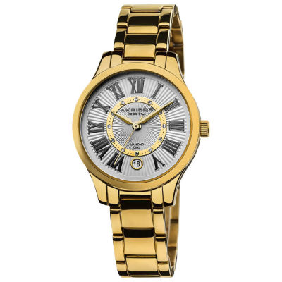 Akribos XXIV - Akribos XXIV Women's Gold-tone Stainless Steel Diamond Bracelet Watch AK570YG