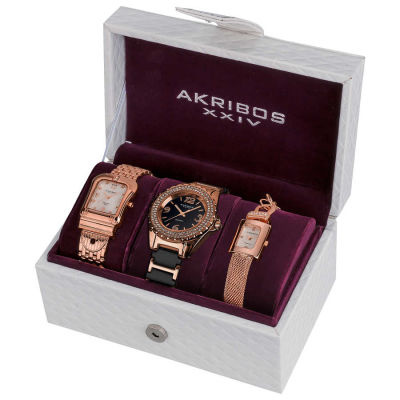 Akribos XXIV - Akribos XXIV Women's Japanese Quartz Diamond Bracelet Watch Set AK600RG