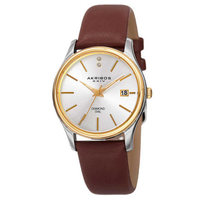 Akribos XXIV - Akribos XXIV Women's Japanese Quartz Diamond Leather Strap Watch AK879BR