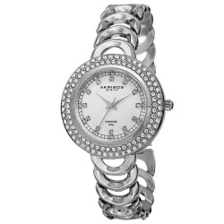 Akribos XXIV Women's Japanese Quartz Diamond Markers Bracelet Watch AK804SS - Thumbnail