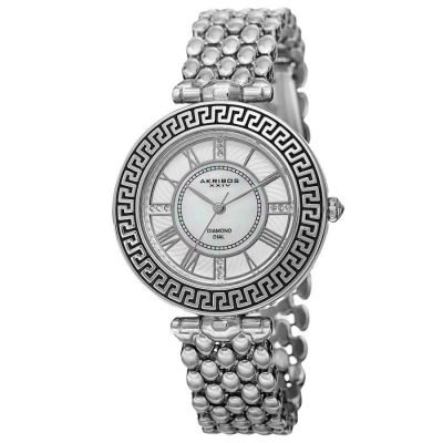 Akribos XXIV - Akribos XXIV Women's Japanese Quartz Diamond Markers Unique Bracelet Watch AK808SS