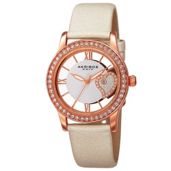 Akribos XXIV Women's Japanese Quartz Heart Crystal-Accented Satin Strap Watch AK811WTR - Thumbnail