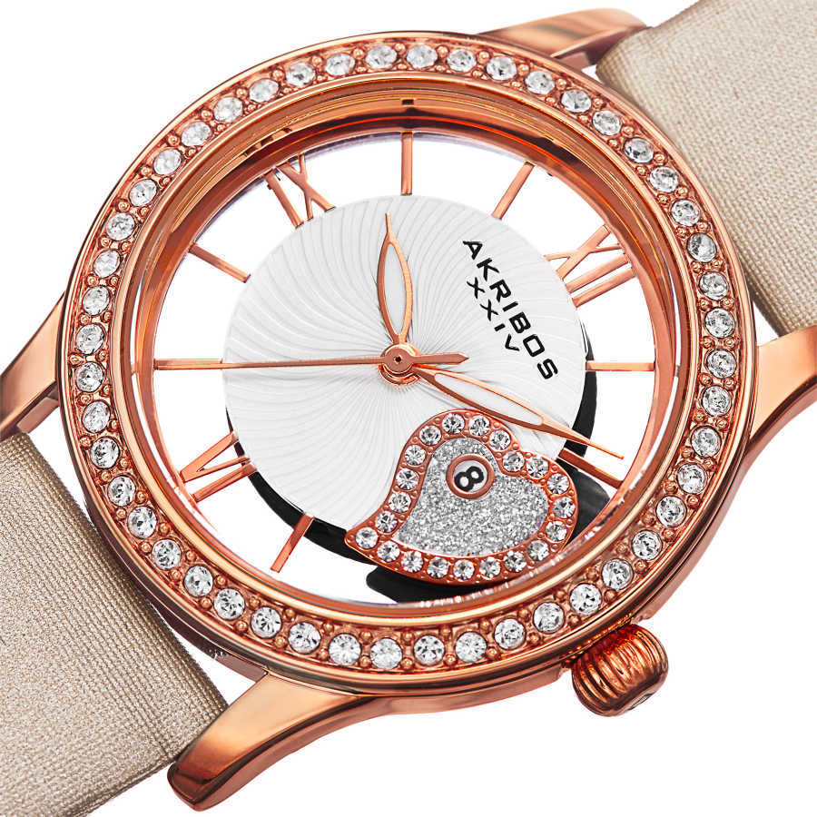 Akribos XXIV Women's Japanese Quartz Heart Crystal-Accented Satin Strap Watch AK811WTR