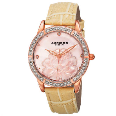 Akribos XXIV - Akribos XXIV Women's Japanese Quartz Mother of Pearl Dial Leather Strap Watch AK805RG