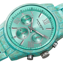 Akribos XXIV Women's Porcelain coated watch in pastel blue with a marble finish. AK929BU - Thumbnail