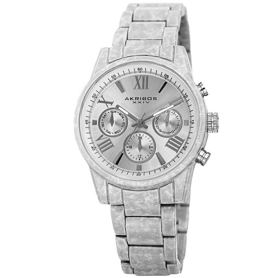Akribos XXIV Women's Porcelain coated watch in white with a marble finish. AK929WT