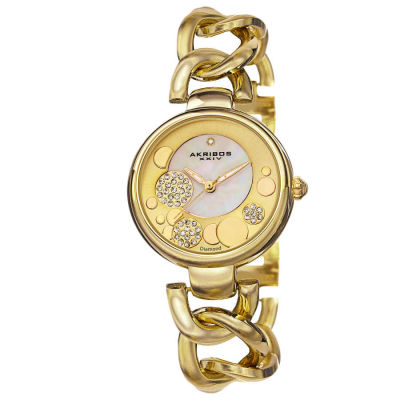 Akribos XXIV - Akribos XXIV Women's Quartz Diamond-Accented Twist Chain Watch AK678YG