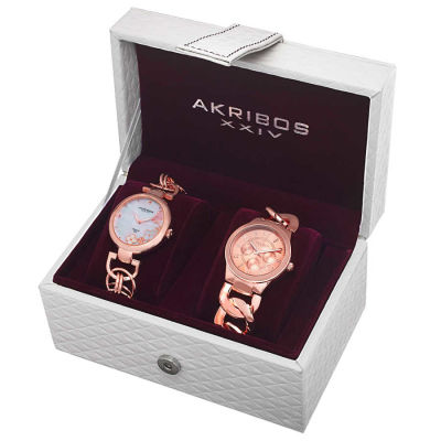 Akribos XXIV - Akribos XXIV Women's Quartz Diamond/Multifunction Chain Link Bracelet Watch Set AK677RG