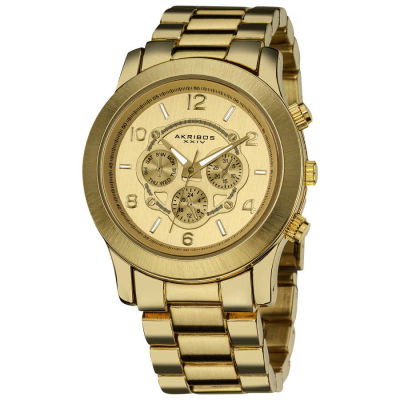 Akribos XXIV - Akribos XXIV Women's Quartz Multifunction Fashion Gold-Tone Bracelet Watch AK583YG