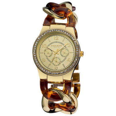 Akribos XXIV - Akribos XXIV Women's Quartz Multifunction Gold-tone Crystal-Accented Resin Chain Watch AK562YG