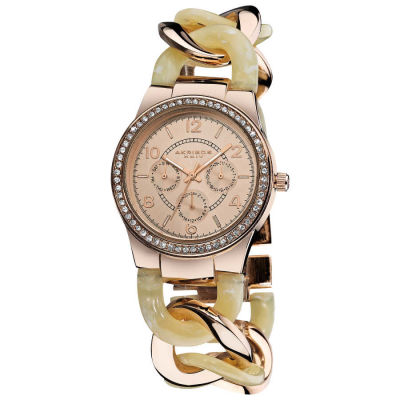 Akribos XXIV - Akribos XXIV Women's Quartz Multifunction Rose-Tone Crystal-Accented Resin Chain Watch AK562RG