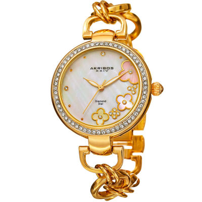 Akribos XXIV - Akribos XXIV Women's Round Cream Mother of Pearl Dial Three Hand Quartz Strap Watch AK874YG