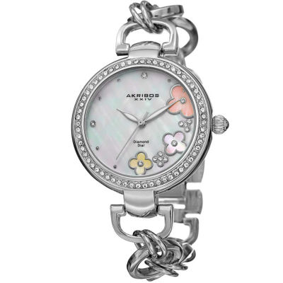 Akribos XXIV - Akribos XXIV Women's Round White Mother of Pearl Dial Three Hand Quartz Strap Watch AK874SS