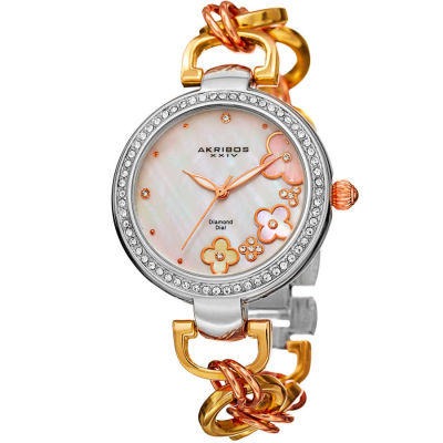Akribos XXIV - Akribos XXIV Women's Round White Mother of Pearl Dial Three Hand Quartz Strap Watch AK874TRI