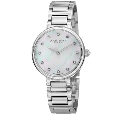 Akribos XXIV - Akribos XXIV Women's Round White Mother of Pearl Dial Two Hand Quartz Bracelet Watch AK877SS