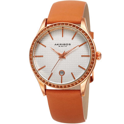 Akribos XXIV - Akribos XXIV Women's Swarovski Crystal Date Genuine Leather Strap Watch AK964TN
