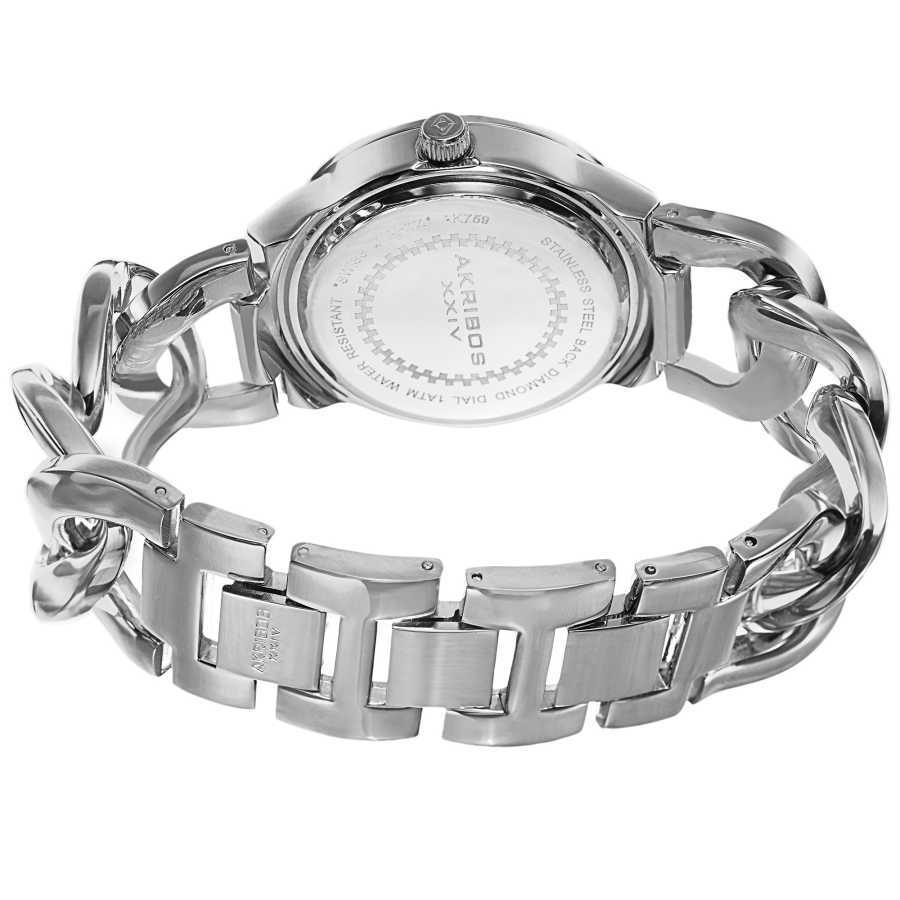 Akribos XXIV Women's Swiss Quartz Diamond-Accented Chain Link Bracelet Watch AK759SSPU