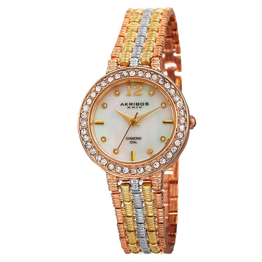 Akribos XXIV Women's Swiss Quartz Diamond-Accented Dial Bracelet Watch AK757TRI