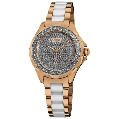 Akribos XXIV - Akribos XXIV Women's Swiss Quartz Diamond Ceramic Link Bracelet Watch AK534RG