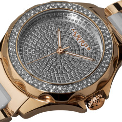 Akribos XXIV Women's Swiss Quartz Diamond Ceramic Link Bracelet Watch AK534RG - Thumbnail