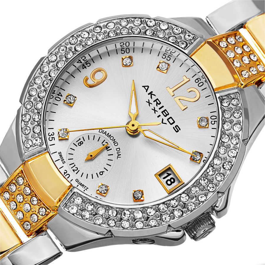 Akribos XXIV Women's Swiss Quartz Diamond Markers Dual Time Bracelet Watch AK775TTG