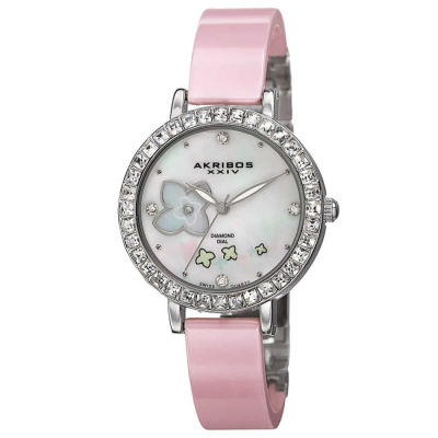 Akribos XXIV - Akribos XXIV Women's Swiss Quartz Flower Design MOP Dial Ceramic Bracelet Watch AK762SSPK