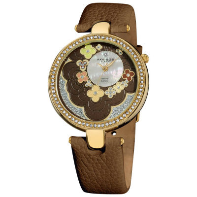 Akribos XXIV - Akribos XXIV Women's Swiss Quartz Genuine Leather Strap Flower Dial Watch AK601BR