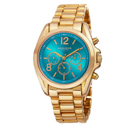 Akribos XXIV Women's Swiss Quartz Multifunction Bright-Colored Dial Bracelet Watch AK760YGTQ - Thumbnail