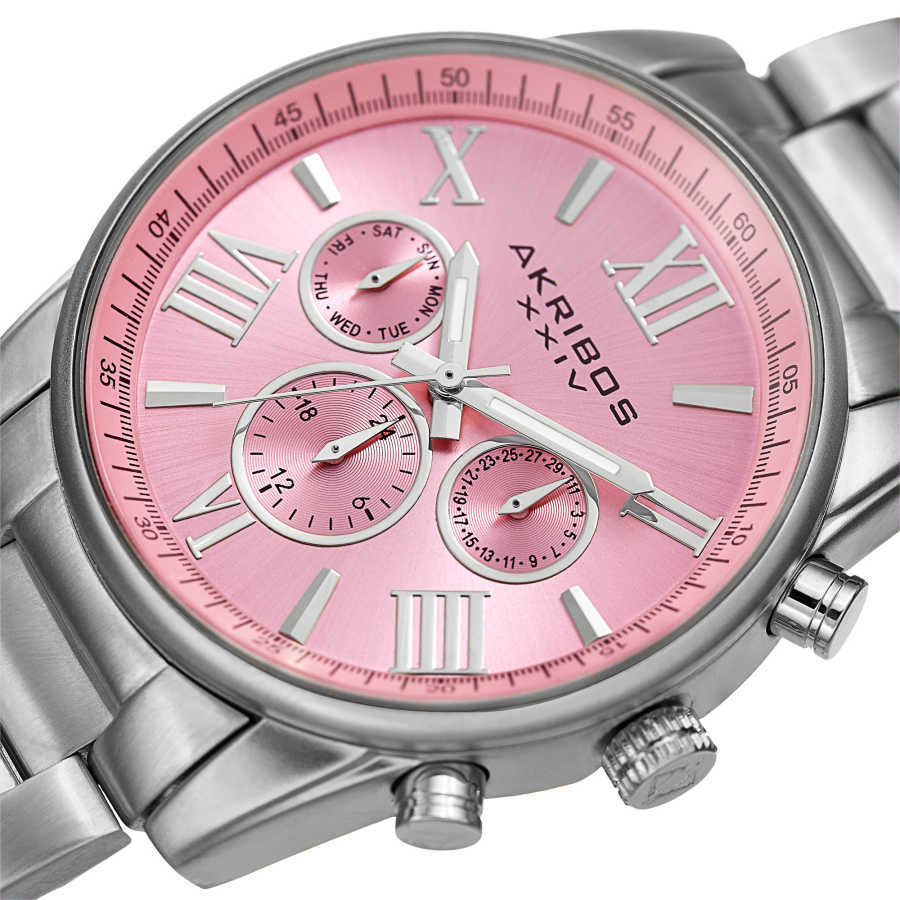 Akribos XXIV Women's Swiss Quartz Multifunction Pink Silver-tone Stainless Steel Bracelet Watch AK908SSPK