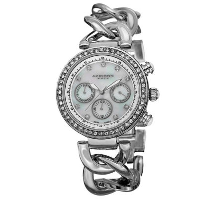 Akribos XXIV - Akribos XXIV Women's Swiss Quartz Multifunction Twist Chain Watch AK640SS