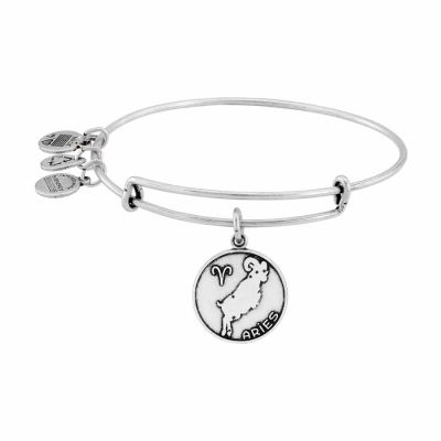 Alex And Ani - Alex and Ani Aries II Expandable Rafaelian Silver Finish Wire Bangle A13EB01ARRS