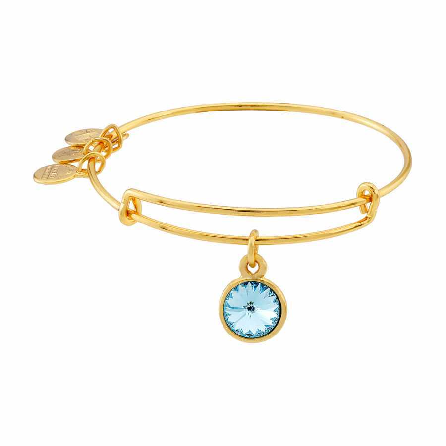 Alex and Ani Bangle Bar March Birthstone Yellow-Gold Expandable A09EB242G