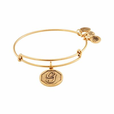 Alex And Ani - Alex and Ani Rafaelian Gold Finish Initial G Expandable Wire Bangle A13EB14GG