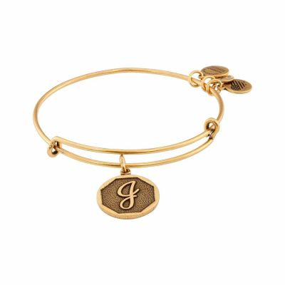 Alex And Ani - Alex and Ani Rafaelian Gold Finish Initial J Expandable Wire Bangle A13EB14JG