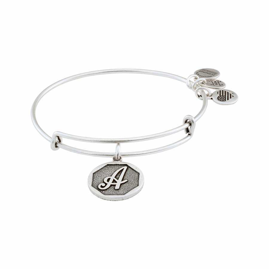 Alex and Ani Rafaelian Silver Finish Initial A Expandable Wire Bangle A13EB14AS