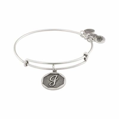 Alex And Ani - Alex and Ani Rafaelian Silver Finish Initial J Expandable Wire Bangle A13EB14JS