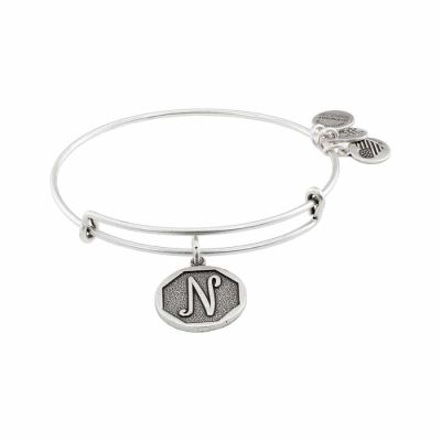 Alex And Ani - Alex and Ani Rafaelian Silver Finish Initial N Expandable Wire Bangle A13EB14NS