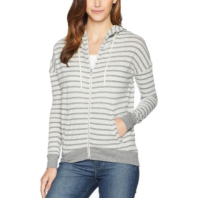 Alternative - Alternative Eco Grey Riviera Stripe Cool Down Zip Hoodie