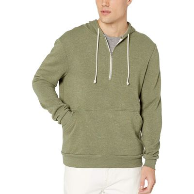 Alternative - Alternative Eco True Army Green Jackson 1/2 Zip Hoodie