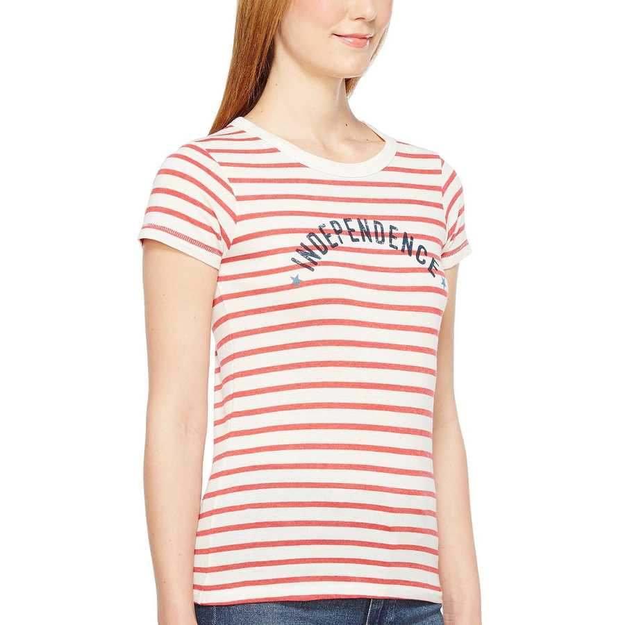 Alternative Red Riviera Stripe Independence Eco Jersey Yarn-Dye Stripe Ideal Tee
