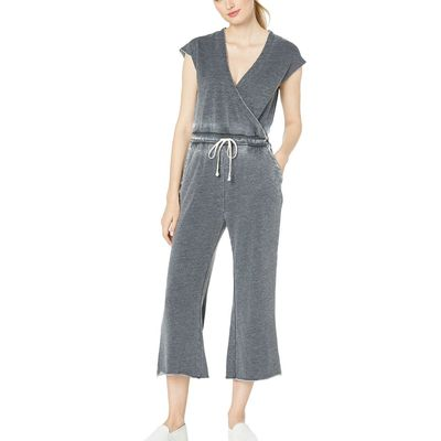 Alternative - Alternative Washed Black Cross Front Burnout French Terry Jumpsuit