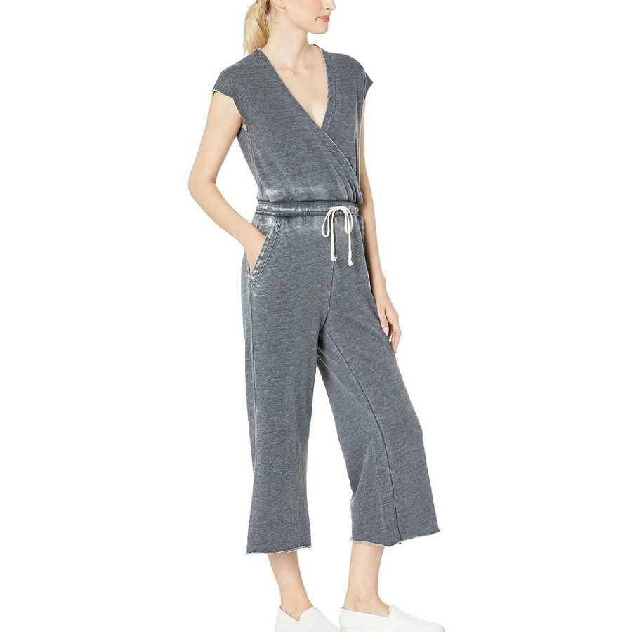 Alternative Washed Black Cross Front Burnout French Terry Jumpsuit