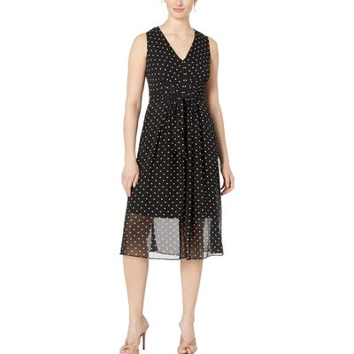Anne Klein - Anne Klein Anne Black/Anne White Combo Printed Ggt V-Neck Midi Dress