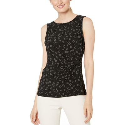 Anne Klein - Anne Klein Anne Black/Anne White Libretto Print Ity Side Pleat Scoop Neck Tank