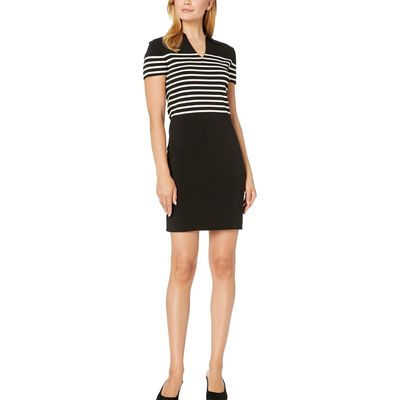 Anne Klein - Anne Klein Anne Black/Anne White Striped Collar Shift Sweater Dress